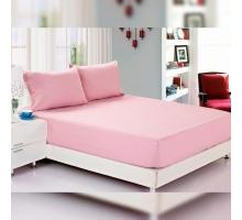 Простыня на резинке 180x200 трикотажная светло-розовая + 2 наволочки