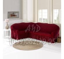 Чехол для углового дивана бордовый
