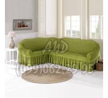 Чехол для углового дивана оливковый