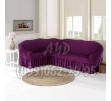 Чехол для углового дивана фиолетовый