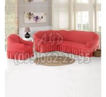 Чехол для углового дивана и кресла коралловый