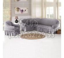 Чехол для углового дивана и кресла серый