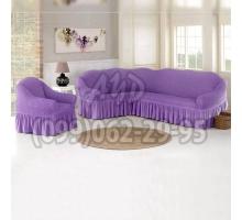 Чехол для углового дивана и кресла сиреневый