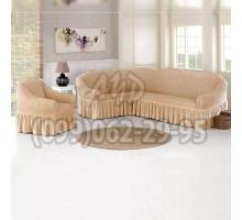 Чехол для углового дивана и кресла натуральный