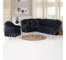Чехол для углового дивана и кресла графитовый